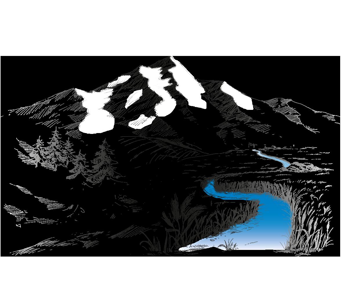 Snowaters Organic Vodka Mountain Illustration